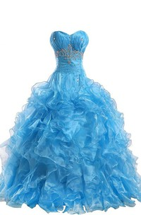 Sweetheart Ball Gown With Ruffles and Beadings