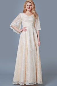 Vintage Long Lace Bridesmaid Dress with Bell Sleeves