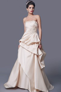 Simple Strapless A-line Ruffled Satin Long Dress