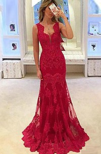 Sleeveless Appliques Lace Long Mermaid Dress