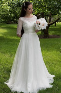 Long A-Line Tulle and Lace Wedding Dress With Elbow Sleeves