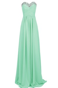 Sweetheart Rhinestoned Chiffon A-line Gown With Lace-up Back