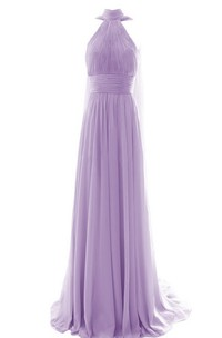 High-neck Long Chiffon Dress With Pleats