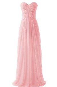 Sweetheart Pleated Chiffon A-line Gown With Zipper Back