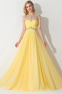 A-Line Princess Sleeveless Bateau Chiffon Ruched Sweep Brush Train Dresses