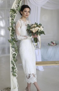 Illusion Lace Appliqued Sheath Ankle-length Wedding Dress With Split Back