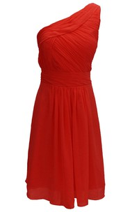 One-shoulder Chiffon Dress With Pleat and Ruching