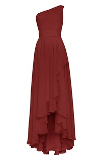 One-shoulder Pleated High-low Dress With Draping