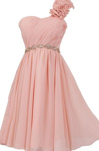 Floral One-shoulder Pleated Short Dress With Beaded Band