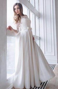 Scoop-Neck Lace 3/4 Length Sleeve A-Line Satin Wedding Dress With Corset Back