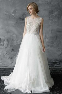 Tulle Beaded Embroidered Wedding Dress