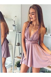 A-line Convertible Plunging Neckline Sleeveless Ruching Short Mini Jersey Homecoming Dress