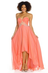 High-Low Criss-Cross Sleeveless Sweetheart Chiffon Prom Dress