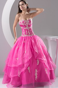 Sweetheart Pleated Ball Gown with Appliques and Ruched Bodice
