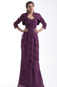 chiffon tiered sheath criss-cross dress with bolero