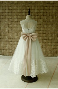 Sleeveless High Neck Lace Applique Ankle Length Dress With Blush Sash and Bow