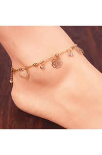 Gold Plated Small Bells Hollow Roses Bows Flash Diamond Tassel Anklet