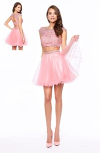 A-Line Short Scoop-Neck Cap-Sleeve Tulle Keyhole Dress With Appliques And Beading