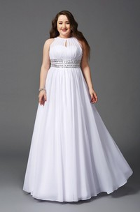 A-line Floor-length High Neck Sleeveless Chiffon Waist Jewellery Pleats Illusion Dress
