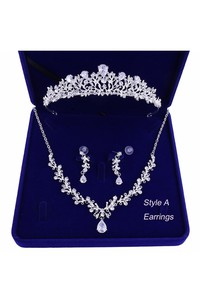 Bridal Accessory-Crown Necklace Earrings/Earclips Set