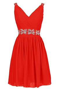 V-neckline A-line Dress With Crystal Embellishments