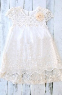 Lace Cap Sleeve Lace&Satin Dress With Flower