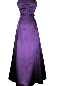 Strapless Long Satin Dress With Sash and Ruching