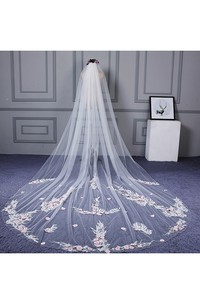 2018 Ethereal Cathedral Wedding Veil with Flower Appliques