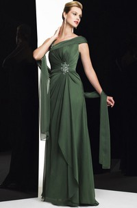 Sheath Cap-Sleeve Maxi Broach Chiffon Formal Dress With Draping