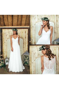 Summer Bohemian Beach A Line Spaghetti Straps Lace Wedding Dress