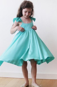 Ruffled Short Sleeve Pleated Satin Dress