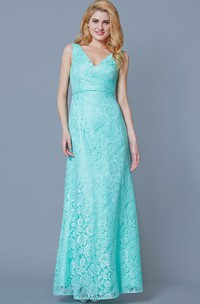 Exquisite V Neck Long Lace Formal Dress