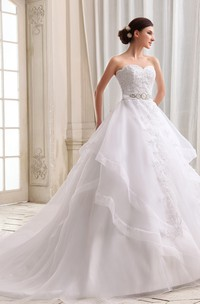 Lovely Organza A-Line Princess Ball Gown With Laced Top