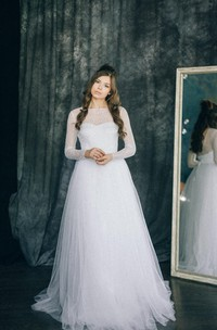 Long Sleeve Tulle Lace Satin Weddig Dress With Illusion