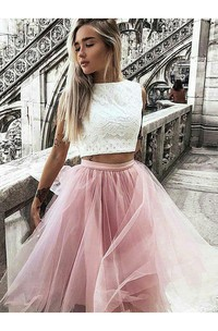 A-line Two Piece High Neck Sleeveless Pleats Ruching Knee-length Lace Tulle Homecoming Dress