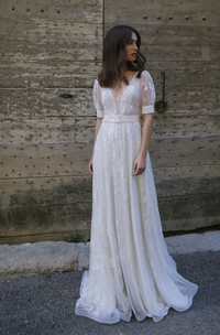 Ethereal Tulle Plunging Neck Half Sleeve Long Bridal Gown