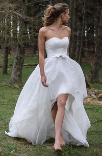 High Low Sweetheart Sleeveless Organza Applique Wedding Dress