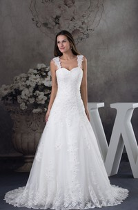 Strapped Lace A-Line Gown with Beading and Court Train