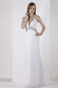 Plunged Sheath Floor-Length Dress With Beaded Waist