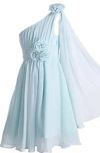 One-shoulder A-line Pleated Dress With Flowers