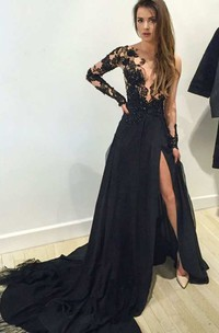 Illusion Lace Long Sleeve A-line Long Chiffon Gown