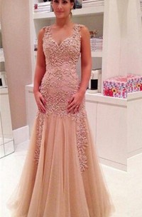 Delicate Lace Appliques Mermaid 2018 Prom Dress Zipper Straps Sleeveless