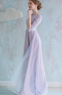 A-line Long Tulle Dress With Low-V Back
