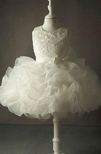 Lace Bust Organza Dress With Cascading Ruffles