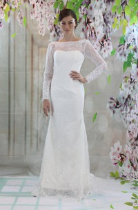 Bateau Neck Long Sleeve Lace Wedding Dress With V-Back