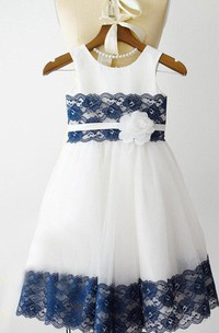 Navy Blue Lace Ivory Tulle Junior Bridesmaid Wedding Party Dress