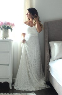 Long A-Line Lace Wedding Dress With Wrapped Bodice