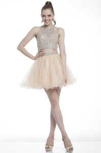 Two-Piece A-Line Short Jewel-Neck Sleeveless Dress With Beading And Ruffles