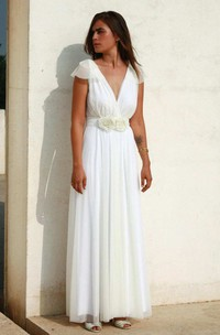 Plunged Cap-Sleeve Chiffon Floor-Length Dress With Flowers