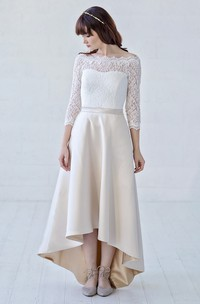 3/4 Illusion Sleeve Off-the-shoulder High-low Lace And Satin With Button Back Wedding Dress